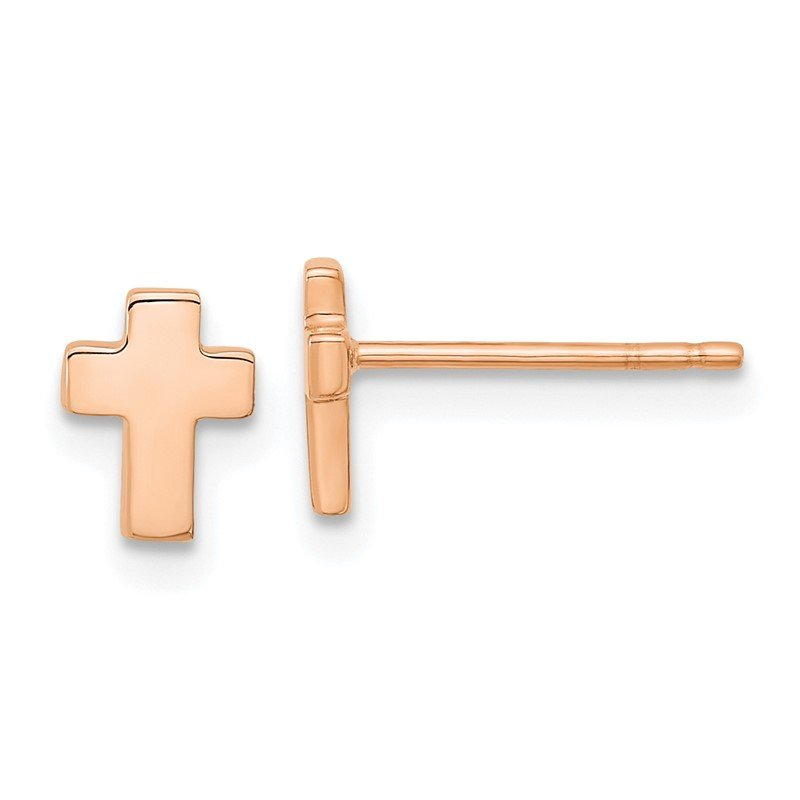 Quality Gold 14k Rose Gold Polished Small Cross Post Earrings