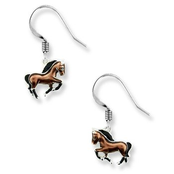 Brown Horse Wire Earrings.Sterling Silver