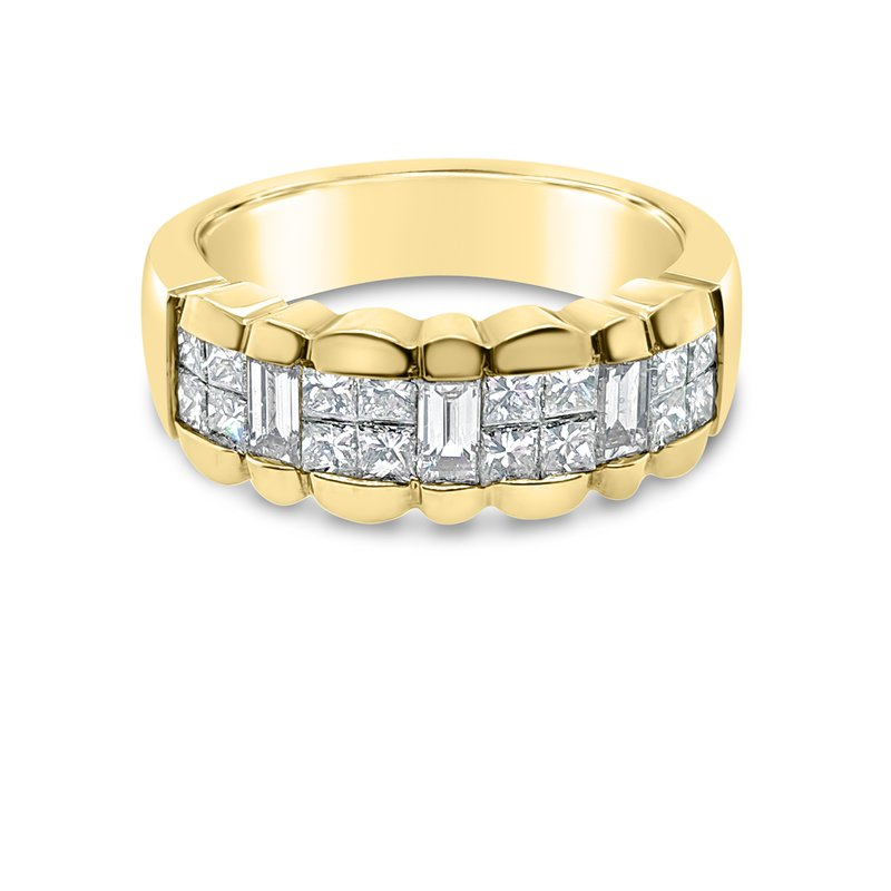 18K Yellow Gold Diamond Fashion Wide Band
