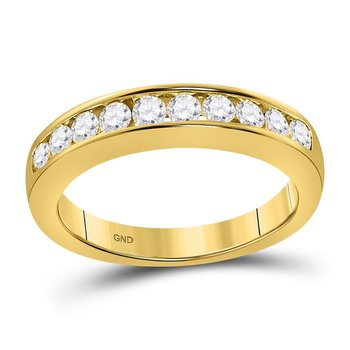 14kt Yellow Gold Womens Round Channel-set Diamond Wedding Band 1/2 Cttw - Size 5