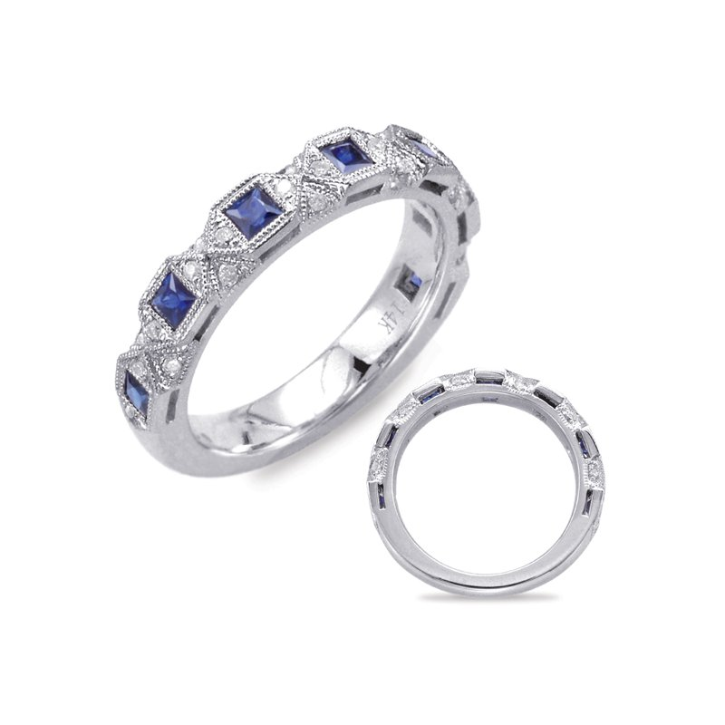 S. Kashi  & Sons White Gold Sapphire & Diamond Band