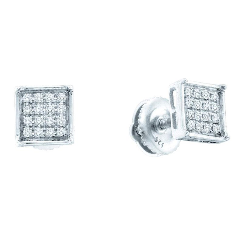 Kingdom Treasures Sterling Silver Womens Round Pave-set Diamond Square Cluster Earrings 1/3 Cttw