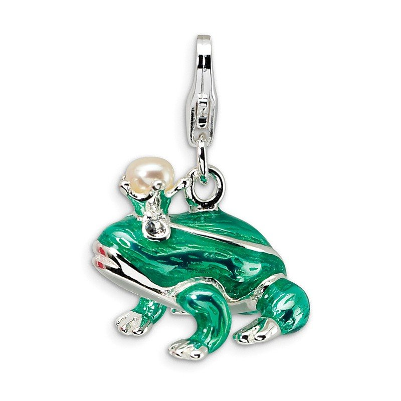 Fine Jewelry by JBD Sterling Silver FW Cultured Pearl Frog Prince w/Lobster Charm