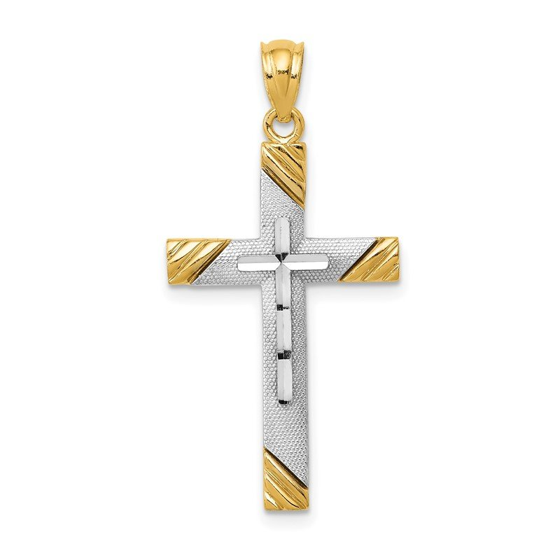 Quality Gold 14K w/Rhodium Cross Pendant