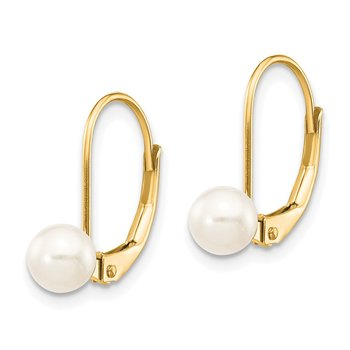 14k 5-6mm White Round Freshwater Cultured Pearl Leverback Earrings