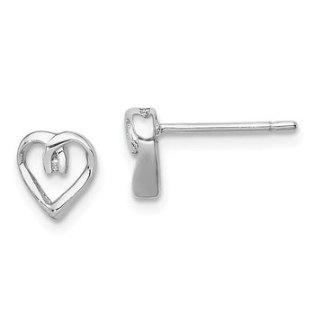 Sterling Silver Rhodium Diamond Heart Post Earrings
