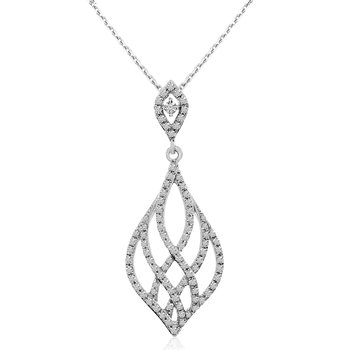 14K White Gold Modern Diamond Fashion Pendant