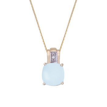 14k Yellow Gold Oval Frosted Cushion Cut Blue Topaz and Diamond Pendant