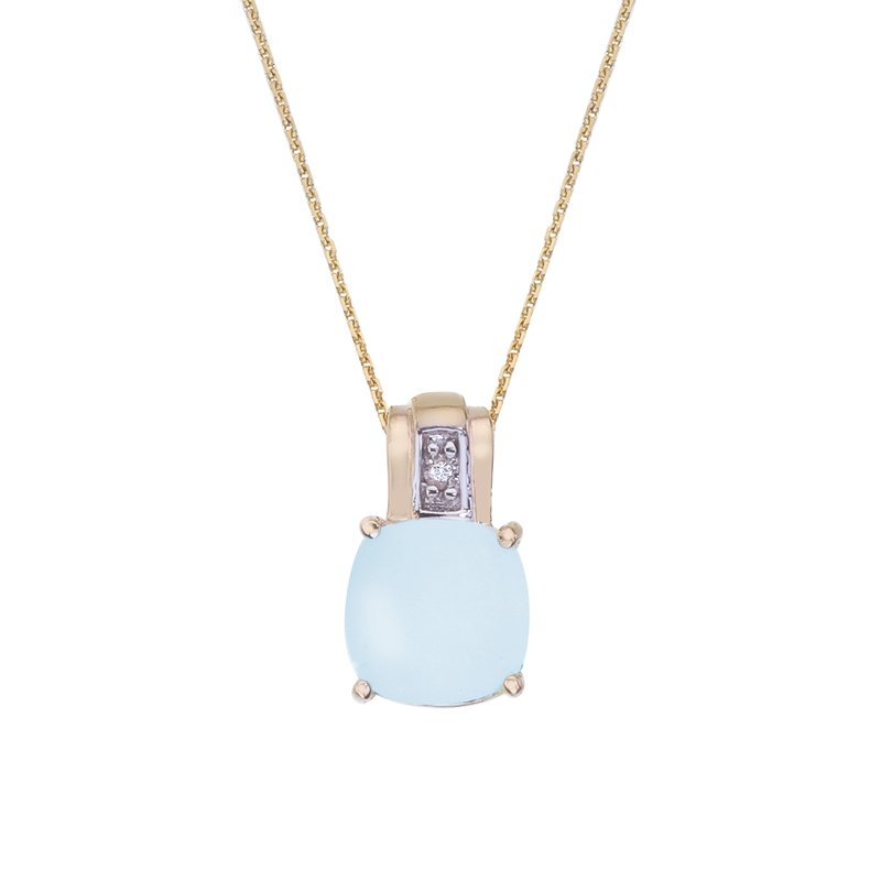 Color Merchants 14k Yellow Gold Oval Frosted Cushion Cut Blue Topaz and Diamond Pendant