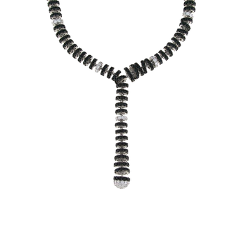 18KT GOLD WHITE DIAMOND AND BLACK SAPPHIRE Y NECKLACE