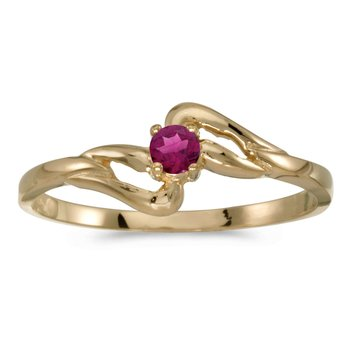 14k Yellow Gold Round Rhodolite Garnet Ring