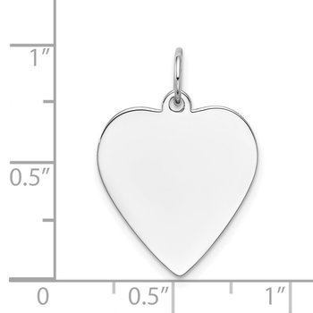 14k White Gold Plain .035 Gauge Engravable Heart Charm