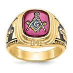 Arizona Diamond Center Collection 14k Men's Synthetic Ruby Masonic Ring