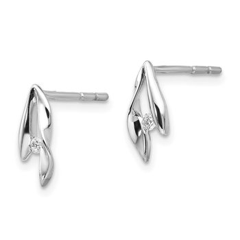 SS White Ice Satin & Polished Diamond Earrings