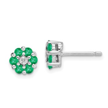 Sterling Silver Rhodium Emerald & Diamond Post Earrings