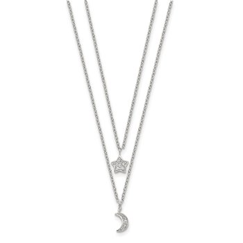 Sterling Silver RH-plate CZ Moon/Star 2-Strand w/1in ext Necklace