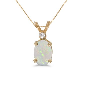 14k Yellow Gold Oval Opal And Diamond Pendant