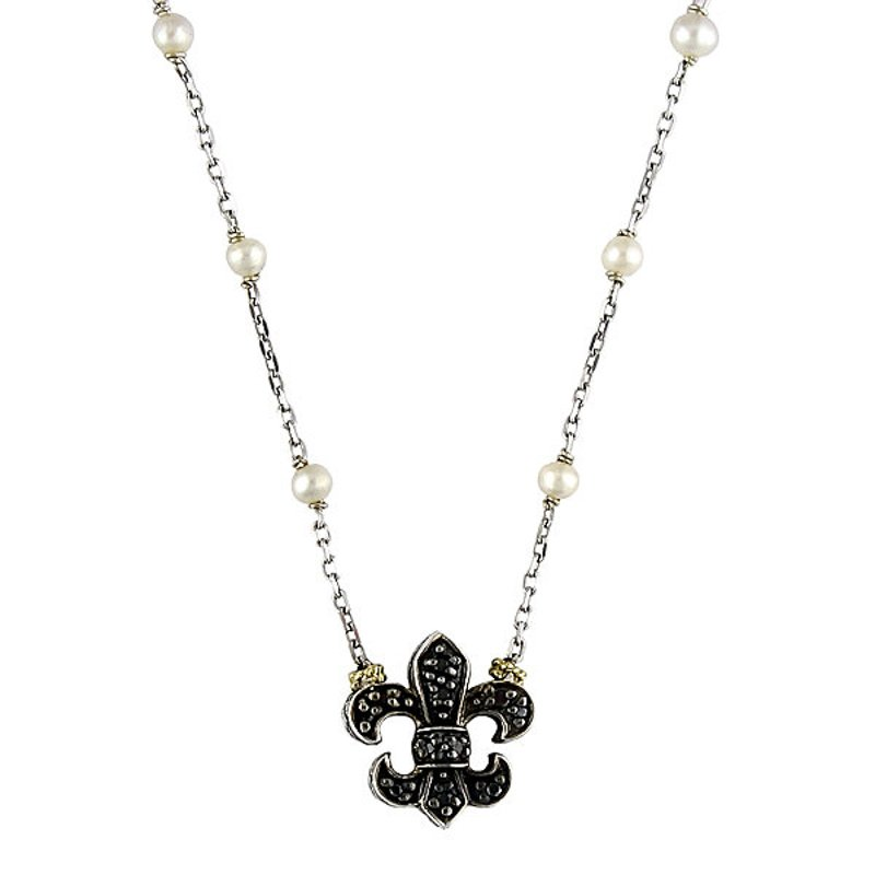 "Andrea Candela 18kt and Sterling Silver White Pearl and Black Diamond ""Fleur De Lis"" Necklace"