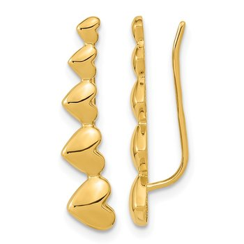 14k Gold Heart Polished Ear Climber Earrings