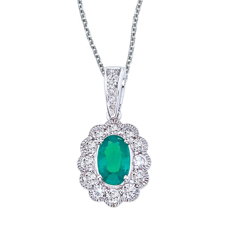 14k White Gold Emerald and Diamond Oval Pendant