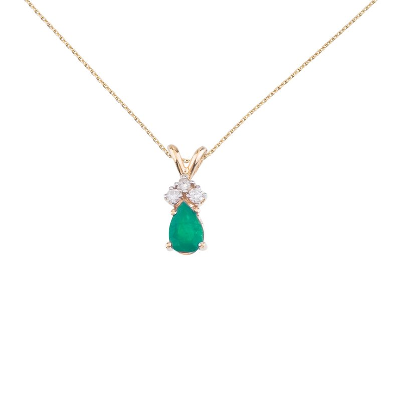 Color Merchants 14K Yellow Gold Pear Shaped Emerald Pendant with Diamonds
