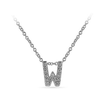 "10K WG and diamond block letters alphabet W ""chain-sliding"" pendant in prong setting"