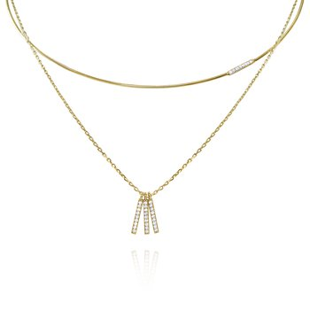 14K Gold and Diamond Wire Choker Necklace