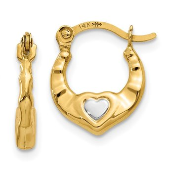 14K & Rhodium Heart Hollow Hoop Earrings