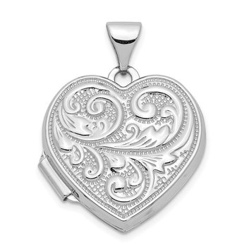 14k White Gold Scrolled Love You Always Heart Locket