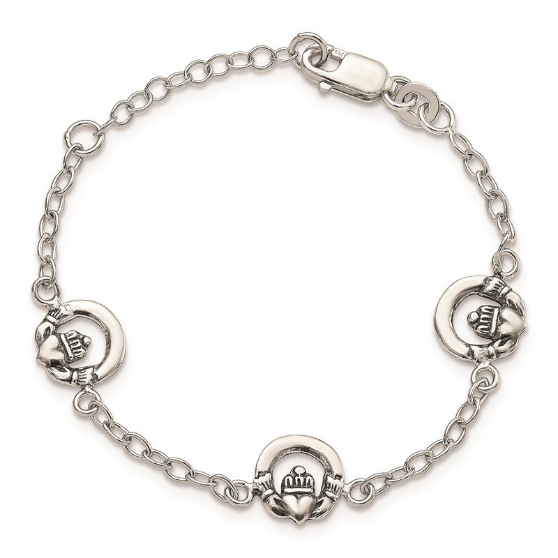 Quality Gold Sterling Silver Claddagh Childs 5in Plus 1in ext. Bracelet