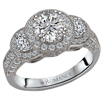 Semi-mount Diamond Halo Ring