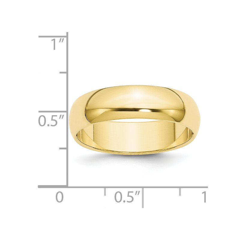 Quality Gold 10KY 6mm Half Round Band Size 10