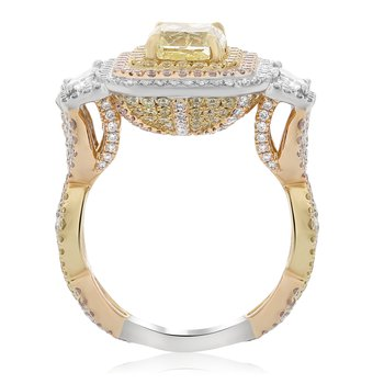 Pink, White, & Yellow Diamond Halo Ring