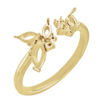 18K Yellow Negative Space Ring Mounting