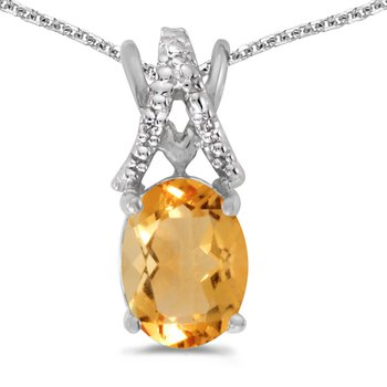 14k White Gold Oval Citrine And Diamond Pendant