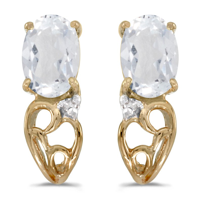 Color Merchants 10k Yellow Gold Oval White Topaz And Diamond Earrings
