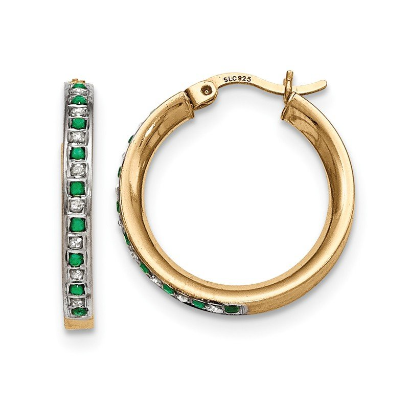 Quality Gold Sterling Silver & Gold-plated Diamond & Emerald Round Hoop Earrings