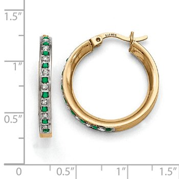 Sterling Silver & Gold-plated Diamond & Emerald Round Hoop Earrings