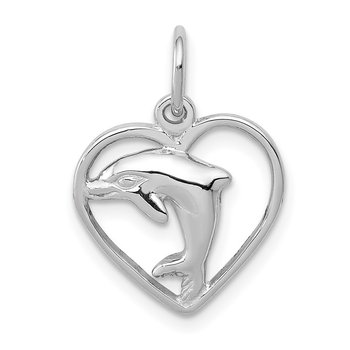 14k White Gold Dolphin in Heart Charm