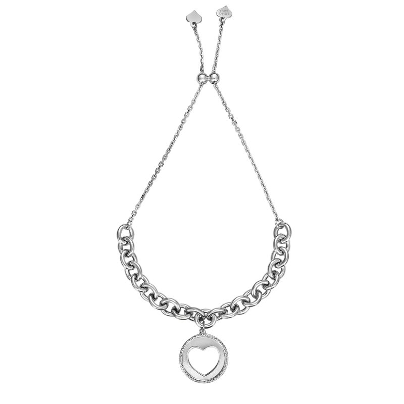 Royal Chain Sterling Silver Heart Dangle Friendship Bracelet