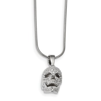Sterling Silver & CZ Brilliant Embers Polished Skull Necklace