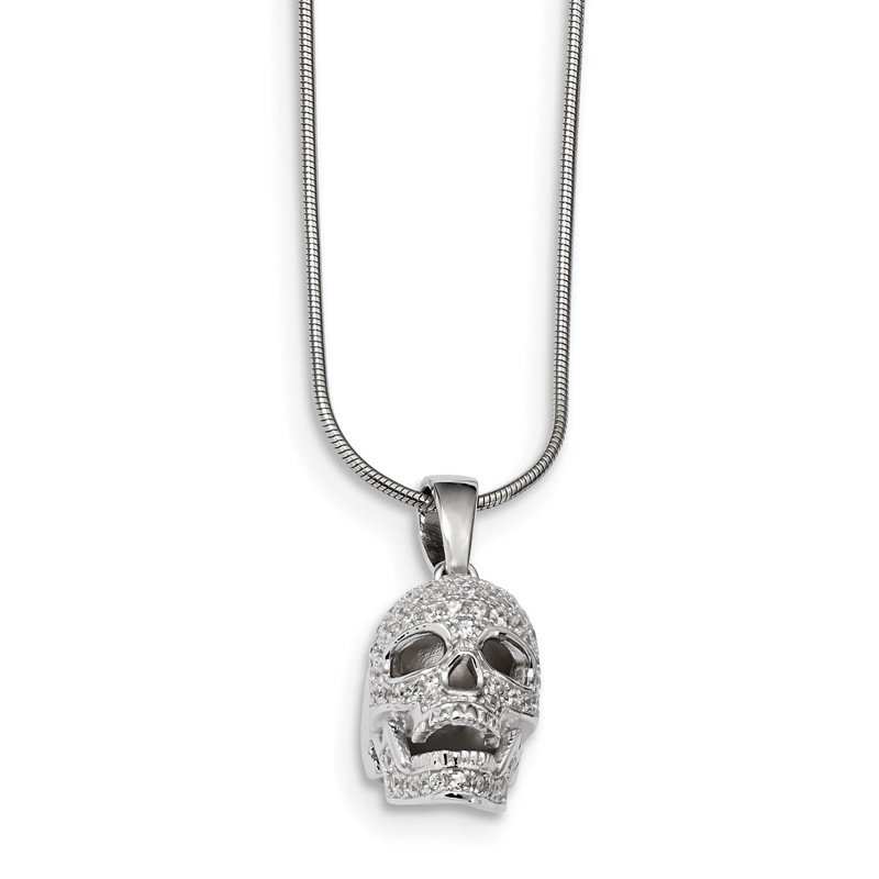 Quality Gold Sterling Silver & CZ Brilliant Embers Polished Skull Necklace