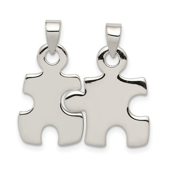 Sterling Silver Polished Puzzle Pieces Pendant