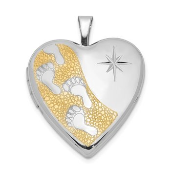 Sterling Silver Rhodium-plated Gold-plated Footprints 20mm Heart Locket