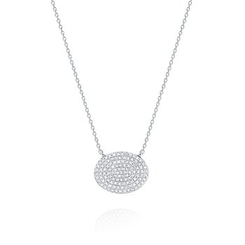 Diamond Pavé Oval Disc Pendant Necklace Set in 14 Kt. Gold