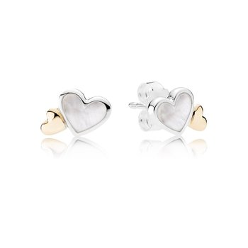 Luminous Hearts Stud Earrings, Mother-Of-Pearl 14K Gold