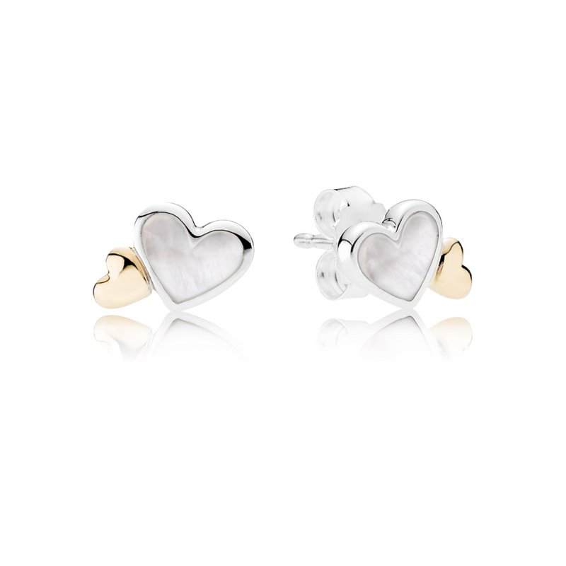 PANDORA Luminous Hearts Stud Earrings, Mother-Of-Pearl & 14K Gold