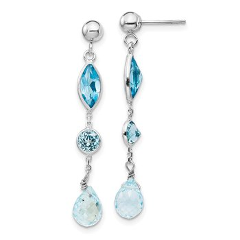 14K WG Blue Topaz Post Earrings