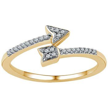 10kt Yellow Gold Womens Round Diamond Bisected Arrow Band Ring 1/12 Cttw
