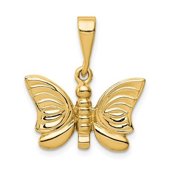 14K Polished Butterfly Pendant